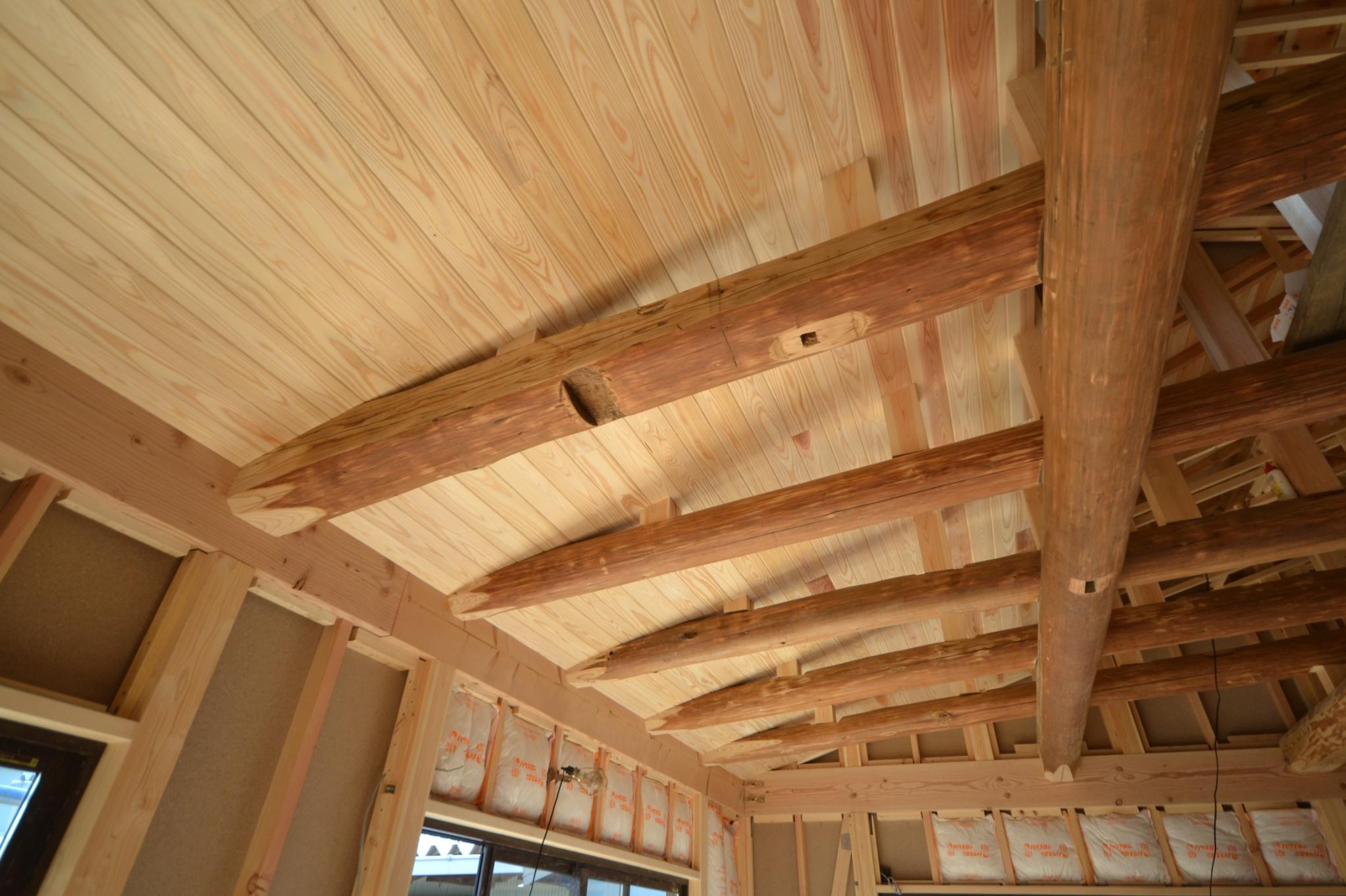 無垢板天井仕上げ張り