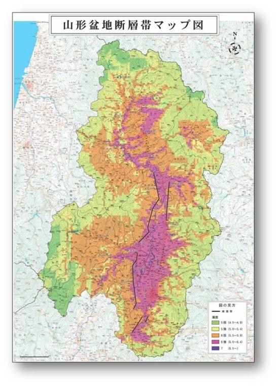 山形盆地断層帯マップ図