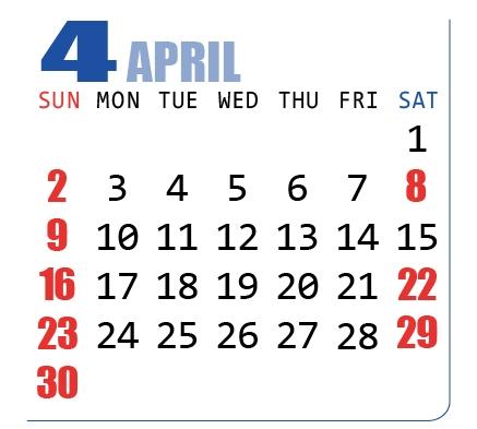 2017年(平成29年)カレンダー4月