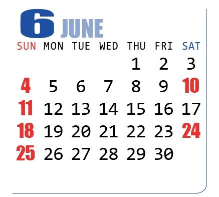 2017年(平成29年)カレンダー6月