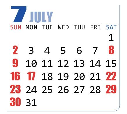 2017年(平成29年)カレンダー7月