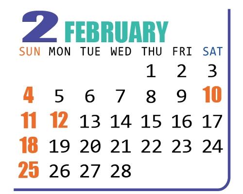 カレンダー2018年2月