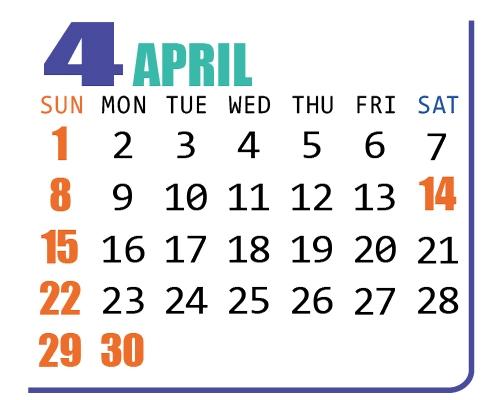 カレンダー2018年4月