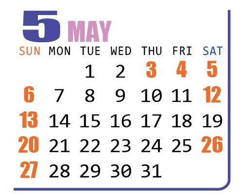 カレンダー2018年5月