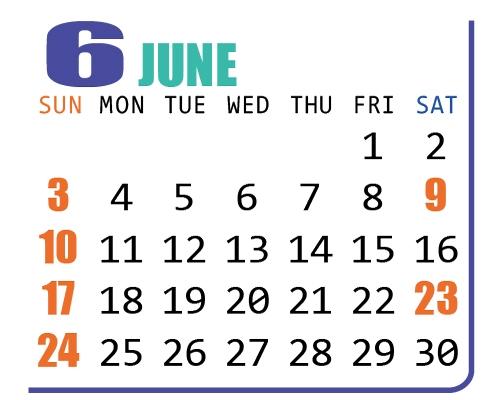 カレンダー2018年6月
