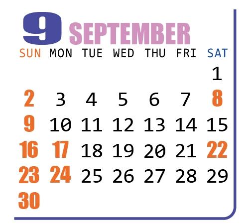 カレンダー2018年9月