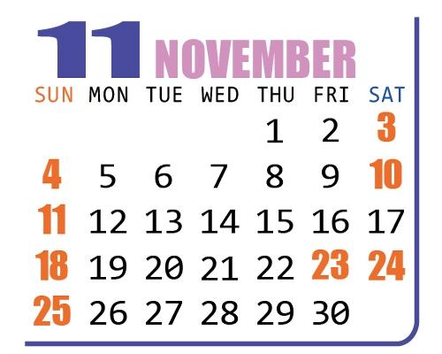 カレンダー2018年11月
