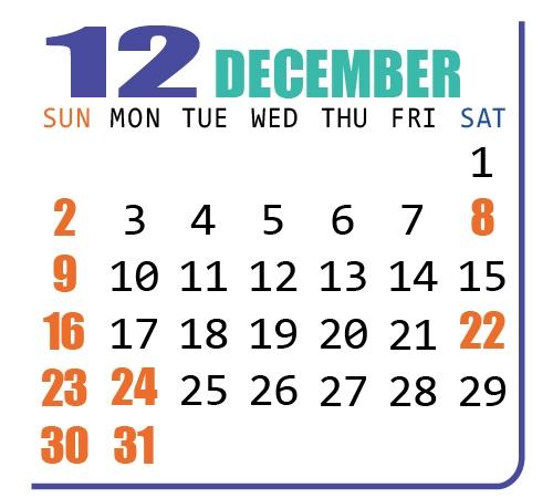 カレンダー2018年12月