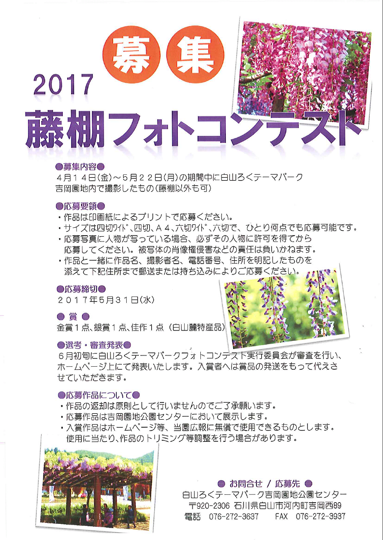 藤棚フォトコンテスト2017