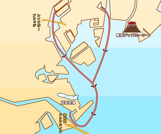 地図:羽田飛行機