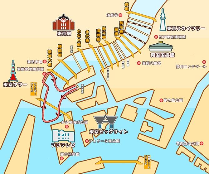 地図:東京湾1H周遊