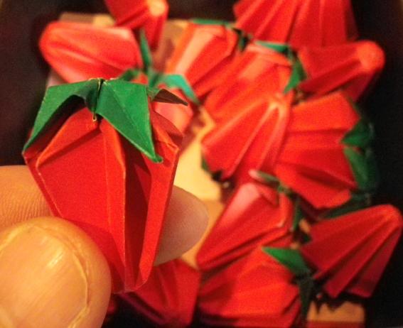 すべての折り紙 星 立体 折り紙 : 折り紙「イチゴ」