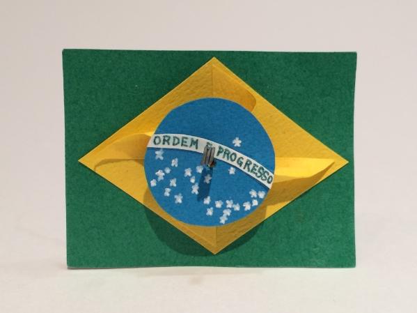 ハート 折り紙 ハート 折り紙 立体 : バッチ「ブラジル国旗か ...