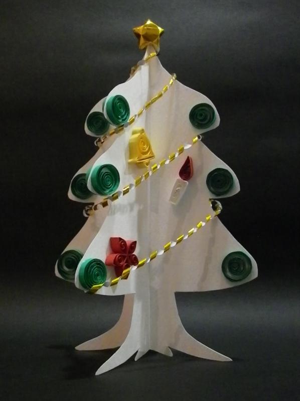 クイリング「クリスマスツリー ... : サンタ 簡単 折り紙 : 簡単 折り紙