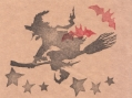 ハロウィン「魔女とコウモリと星」