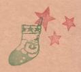クリスマス「靴下サンタと星」