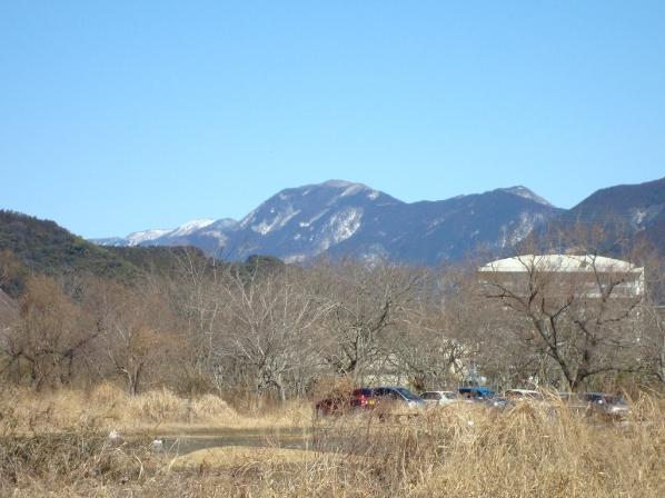 遠くの山は雪景色