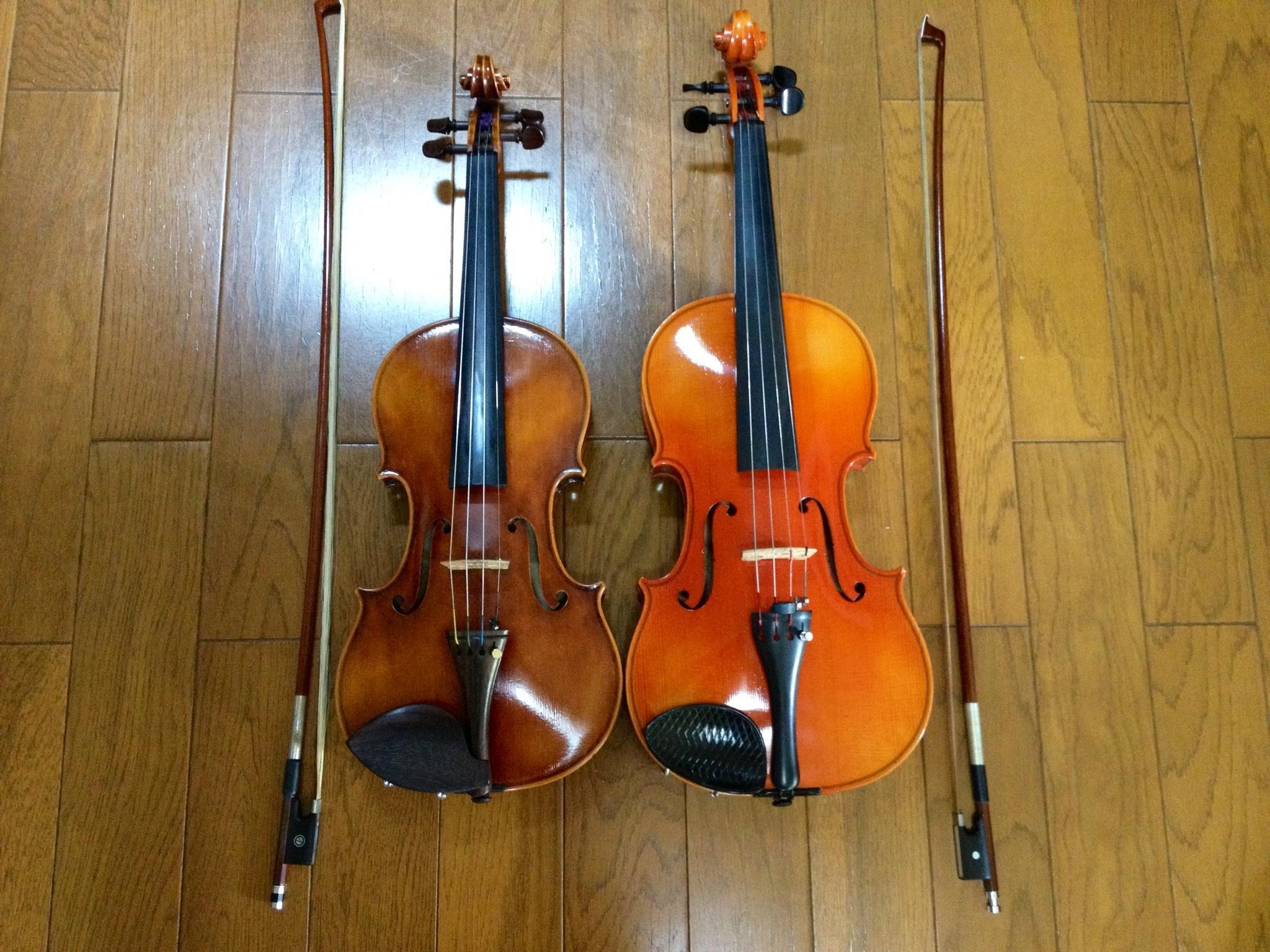 左がバイオリン、右がビオラ♫