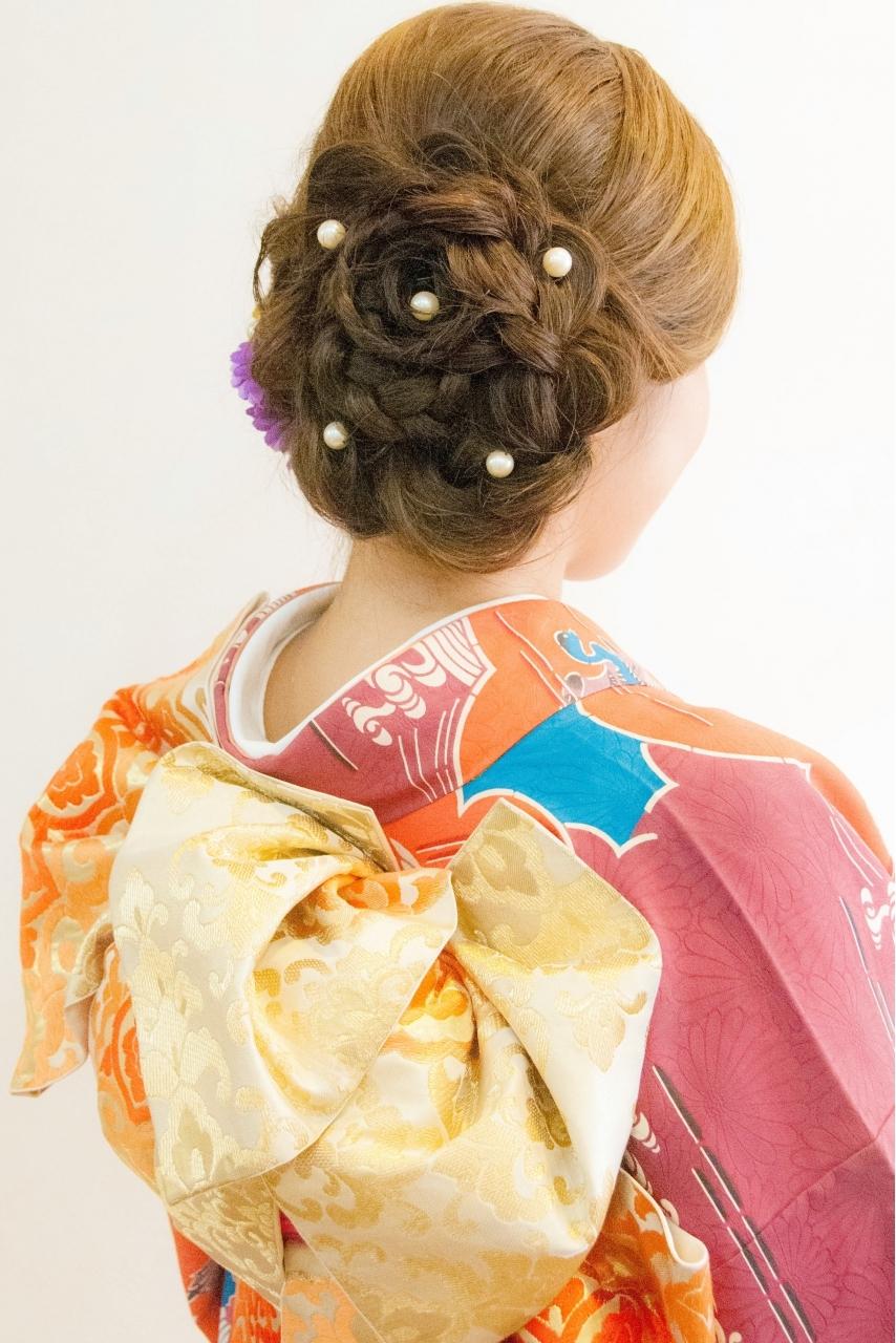 成人式の振袖着付けとヘアセット