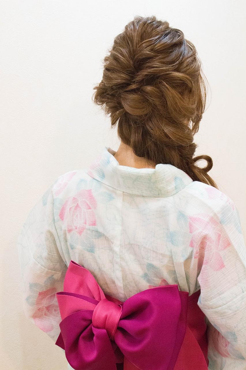 花火大会の浴衣着付けとヘアセット